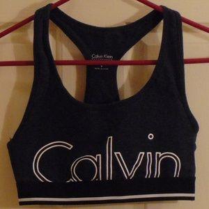 Calvin Klein Gray Logo Sports Bra Small